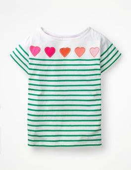 White/Astro Green Hearts Short-sleeved Fun Breton