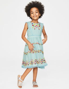 Tropical Rain Blue Flower Embroidered Dress