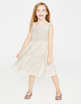 Ivory Textured Broderie Ruffle Dress