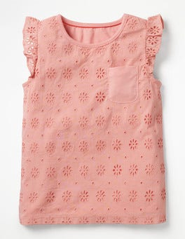 Shell Pink Pretty Broderie Top