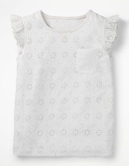 White Pretty Broderie Top