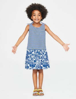 Duke Blue Doodle Flower Hotchpotch Jersey Dress