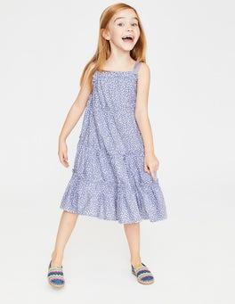 White/Iris Purple Sweet Berry Twirly Woven Dress