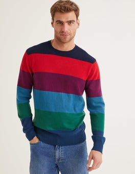 Rainbow Stripe Cashmere Crew Neck