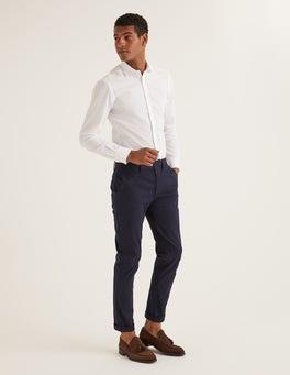 White Slim Fit Cutaway Collar Shirt
