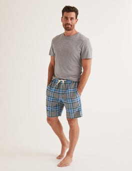 Grey Marl/Green Check Brushed Cotton Pyjama Shorts