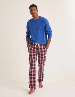 Tropical Orange Check Cotton Poplin Pyjama Bottoms