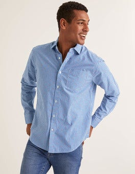 Gingham Clip Dot Poplin Pattern Shirt