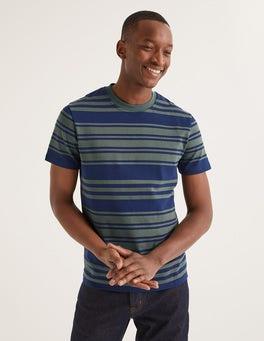 Navyblau/Lorbeerkranz T-Shirt mit Retrostreifen