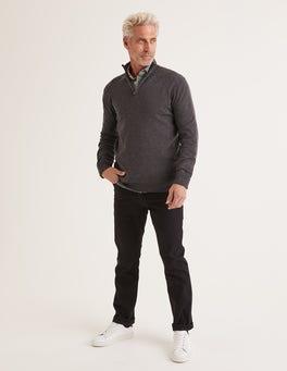 Anthrazit Meliert Putney Pullover mit halbem Reißverschluss