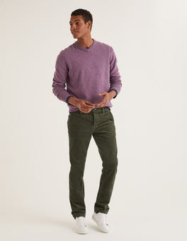 Dark Olive Straight Leg Cord Pants