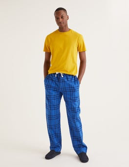 Navy Blues Check Brushed Cotton Pyjama Bottoms