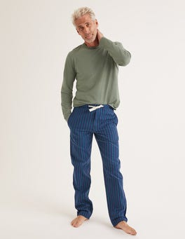 Navy/Green Baize Stripe Flannel Pajama Bottoms