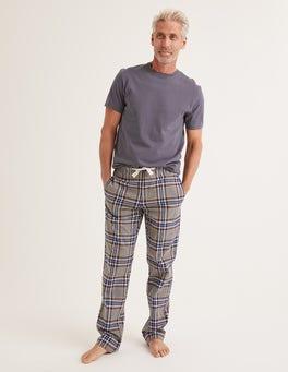 Grey Marl Multi Check Flannel Pajama Bottoms