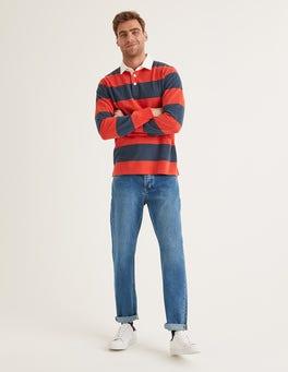 Blue Wash Denim Straight Leg Jeans