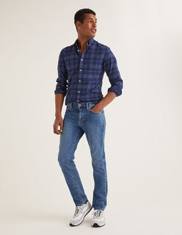 Blue Wash Denim Slim Leg Jeans