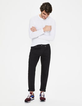 Black Denim Straight Leg Jeans