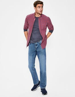 Blue Wash Denim Straight Leg Jeans
