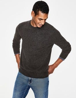 Dark Grey Marl Cashmere Crew Neck