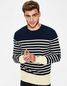 Navy Stripe Cashmere Crew Neck