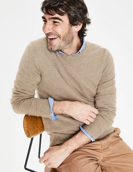 Oatmeal Marl Cashmere Crew Neck
