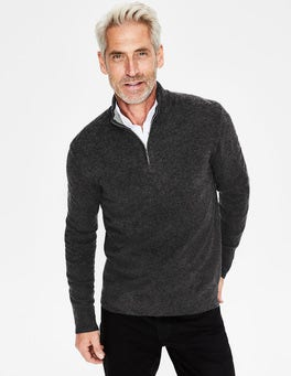 Dark Grey Marl Cashmere Half-Zip