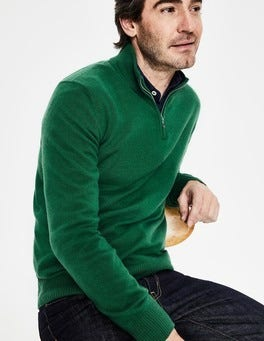 Hillside Green Cashmere Half-Zip