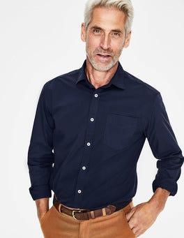 Navy Poplin Cutaway Collar Shirt