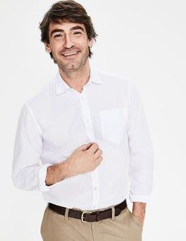White Poplin Cutaway Collar Shirt
