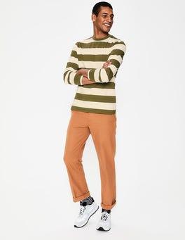 Ecru/Kiwi Green Stripe Long Sleeve Stripe T-Shirt