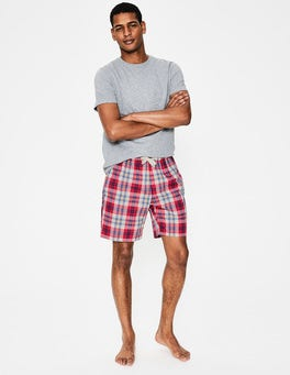 Washed Crimson/Heather Check Cotton Poplin Pajama Shorts