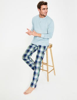 Navy Blue Multi Check Cotton Poplin Pajama Bottoms