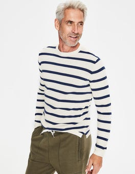 Ecru/College Blue Stripe Cotton Linen Jumper