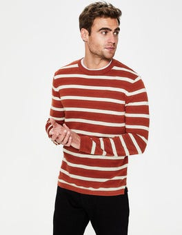 Cayenne Pepper/Ecru Stripe Cotton Linen Sweater