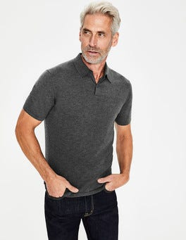 Charcoal Marl Finsbury Knitted Polo