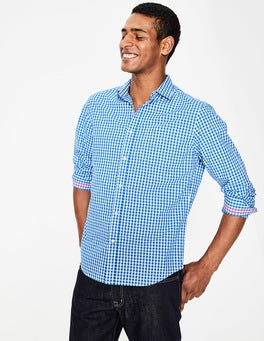 Electric Blue Gingham Poplin Pattern Shirt