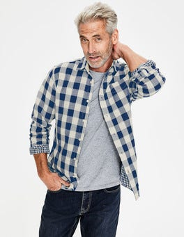 Navy Blue Gingham Double Cloth Shirt
