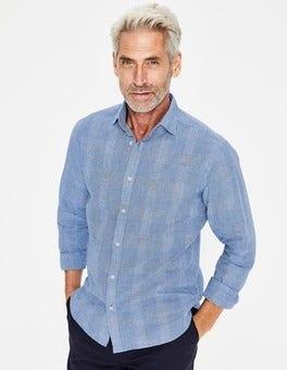 Prince of Wales Check Linen Cotton Pattern Shirt
