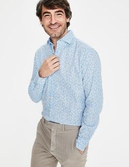 Eisblau, Blumenmuster Gemustertes Baumwollleinen-Hemd