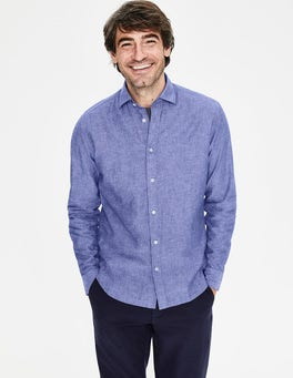 Blue Wave Chambray Linen Cotton Shirt