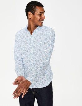 Blues Ditsy Floral Slim Fit Poplin Pattern Shirt