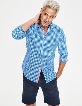 Electric Blue Gingham Slim Fit Poplin Pattern Shirt