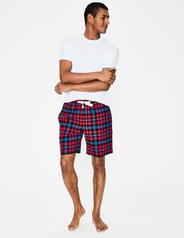Engine Red Multi Check Brushed Cotton Lounge Shorts