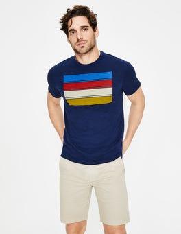 Navy Multi Stripe Graphic T-shirt