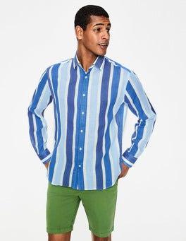 Multi Blue Stripe Linen Cotton Pattern Shirt