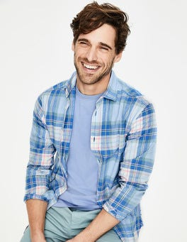 Surf Blue Multi Check Lynton Slim Fit Shirt