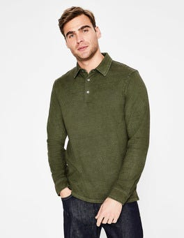Khaki Long Sleeve Garment-dyed Polo