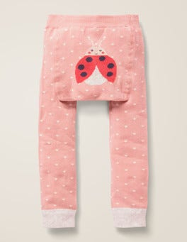 Chalky Pink Pin Spot Knitted Leggings