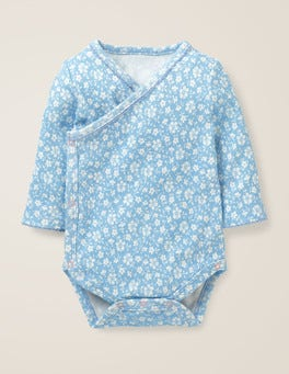 Light Sky Blue Vintage Floral Floral Wrap Bodysuit