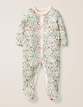 Multi Wild Bunnies Printed Cosy Sleepsuit
